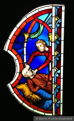 "13t C Stained Glass from Saint-Chappelle ""The Blinding of Samson"""